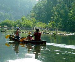 Three people floating the Buffalo National River