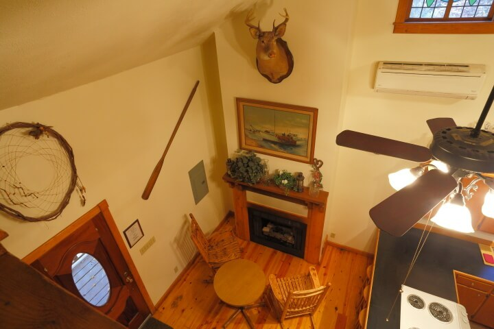 Aerial interior view of sitting area and fireplace, with mounted deer head